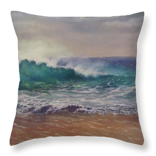Throw Pillow featuring the pastel Sandy Point by Marcus Moller