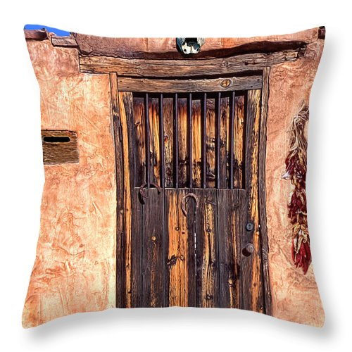 Santa Fe Throw Pillow featuring the photograph Santa Fe Door by Dave Mills