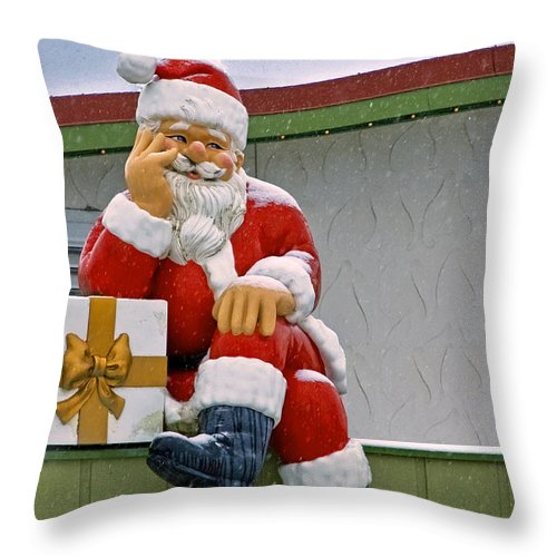 Bronner's Throw Pillow featuring the photograph Santa Is Waiting For You by LeeAnn McLaneGoetz McLaneGoetzStudioLLCcom
