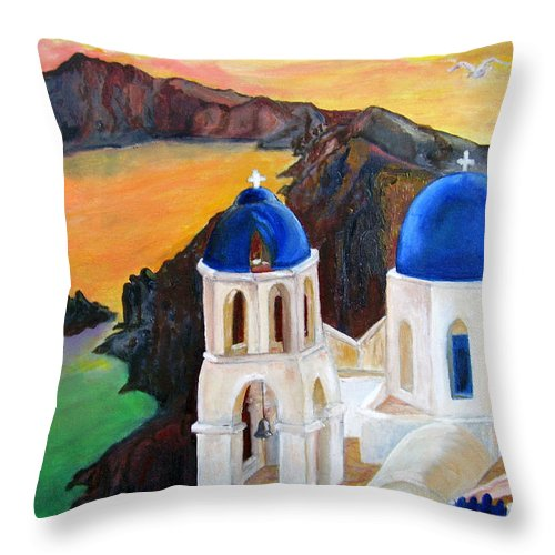 Santorini Throw Pillow featuring the painting Santorini Greece by Veronica Zimmerman