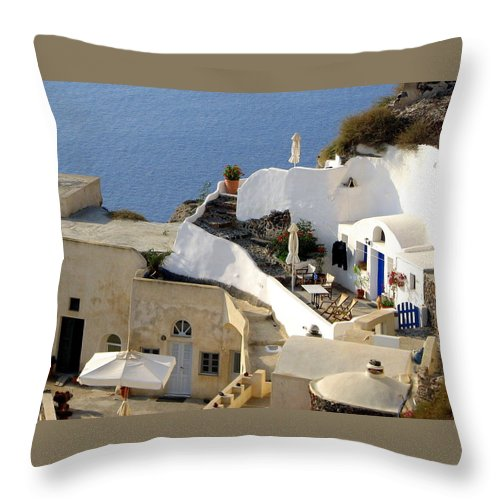 Santorini Throw Pillow featuring the photograph Santorini Terrace by Carla Parris