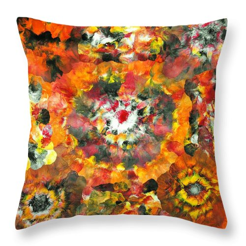 Floral Throw Pillow featuring the painting Sarv Uttrav by Sumit Mehndiratta