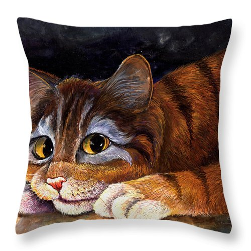 Cat Throw Pillow featuring the painting Scaredy Cat by Sherry Shipley