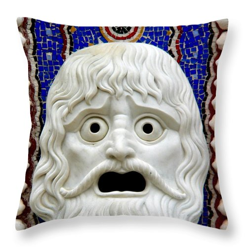 Roman Throw Pillow featuring the photograph Scary Mask Art by Jeff Lowe