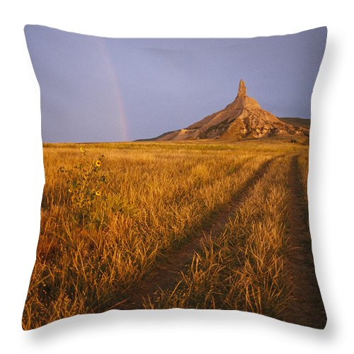 Historic Routes Throw Pillow featuring the photograph Scenic View Of Western Nebraska by Michael S. Lewis