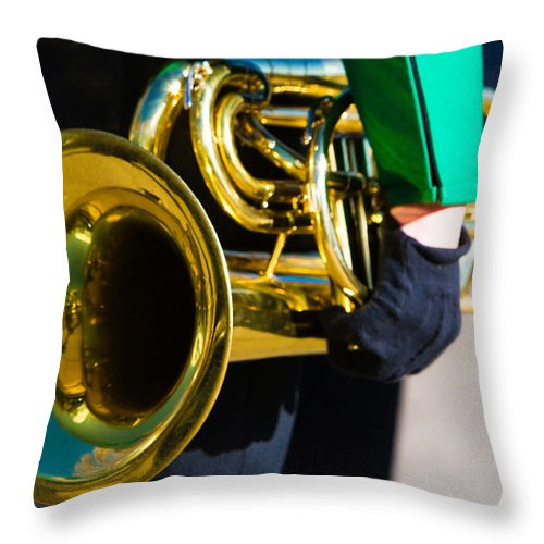 Cornet Throw Pillow featuring the photograph School Band Horn by James BO Insogna