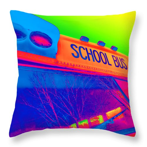 Colorful Throw Pillow featuring the photograph School Bus by Gordon Dean II