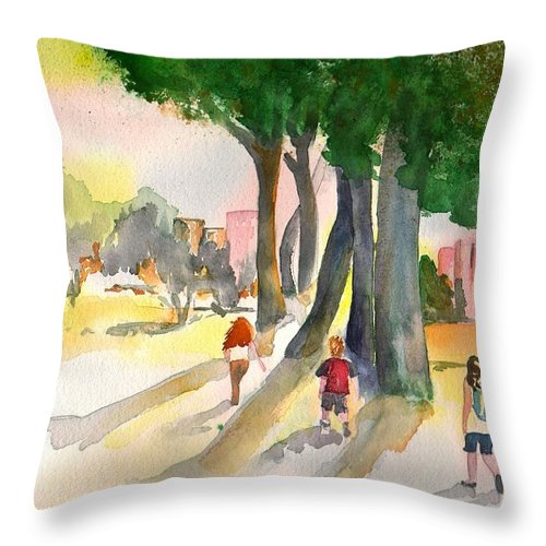 Kids Throw Pillow featuring the painting School Kids by Sharon Mick