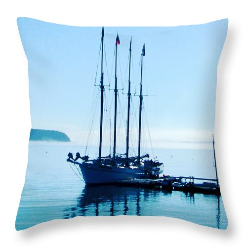 Boat Throw Pillow featuring the digital art Schooner At Dock Bar Harbor Me by Lizi Beard-Ward