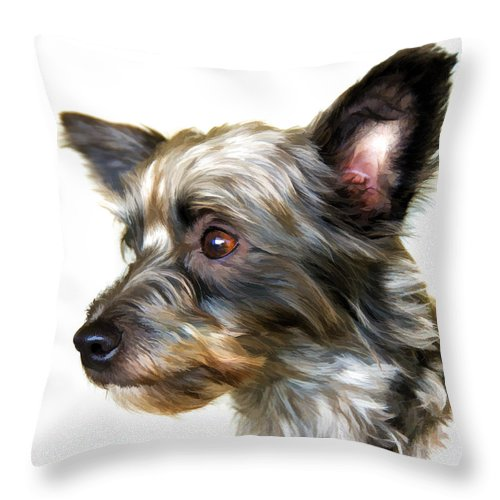 Dog Throw Pillow featuring the painting Scooter by Steven Richardson