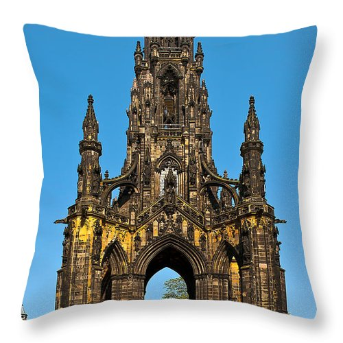 Abbey Throw Pillow featuring the photograph Scott Monument by Svetlana Sewell
