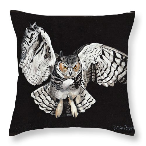 Oil Painting Throw Pillow featuring the painting Screech Owl by Brandy House