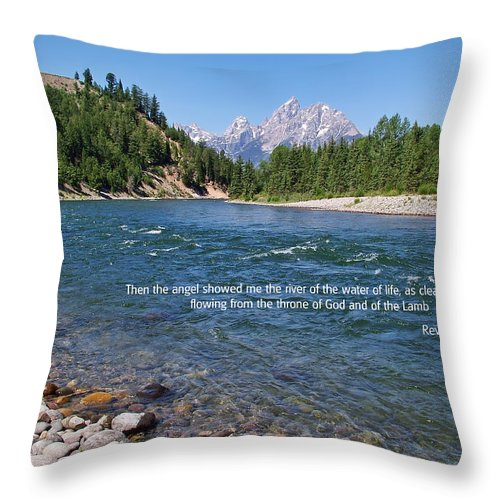 Scripture And Picture Revelation 22:1 Throw Pillow featuring the photograph Scripture And Picture Revelation 22 1 by Ken Smith