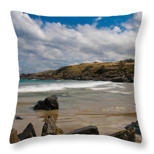 Bay Throw Pillow featuring the photograph Sea Landscape With Bay Beach by U Schade