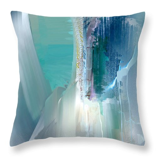 Abstract Throw Pillow featuring the mixed media Sea Odyssey Nb 3 by Davina Nicholas