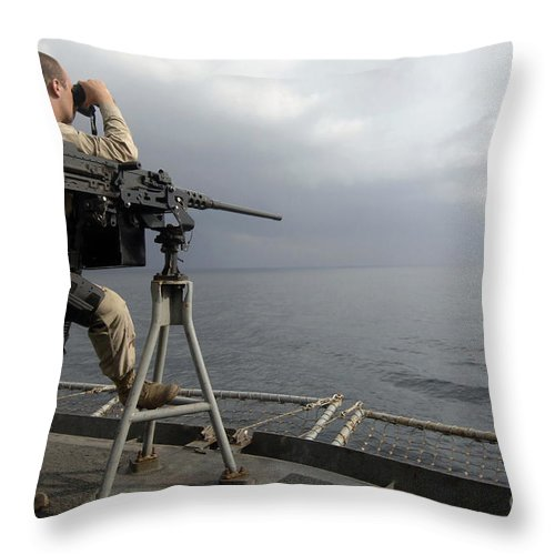 Apprentice Throw Pillow featuring the photograph Seaman Scans The Ocean by Stocktrek Images