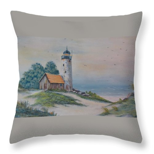 Seascape Throw Pillow featuring the painting Seascape by Terry Boulerice