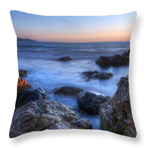 Dawn Throw Pillow featuring the photograph Seaside Rocks by Svetlana Sewell
