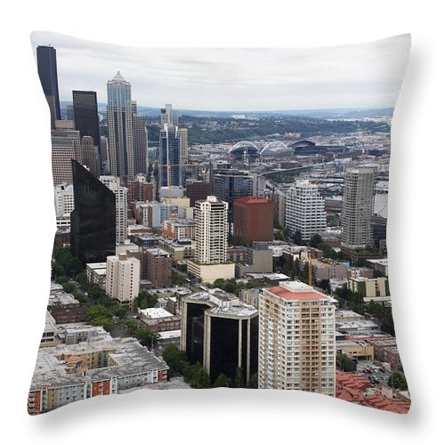 Seattle Downtown Throw Pillow featuring the photograph Seattle From The Needle by Lorraine Devon Wilke
