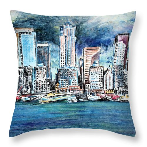 Landscape Throw Pillow featuring the painting Seattle Skyline by Richard Jules