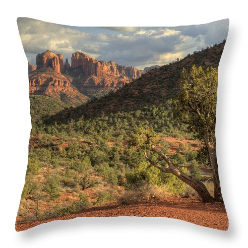 Hdr Throw Pillow featuring the photograph Sedona Red Rock Viewpoint by Sandra Bronstein
