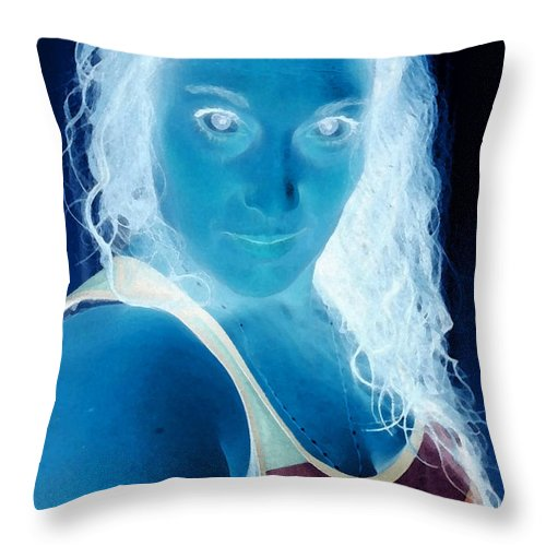 Blue Throw Pillow featuring the photograph Self Portrait Front And Center by Teri Schuster