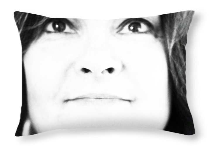 Self Portrait Throw Pillow featuring the photograph Self Portrait In Black And White by Marie Jamieson