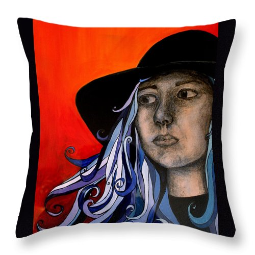Portrait Throw Pillow featuring the painting Self Portrait by Kate Fortin