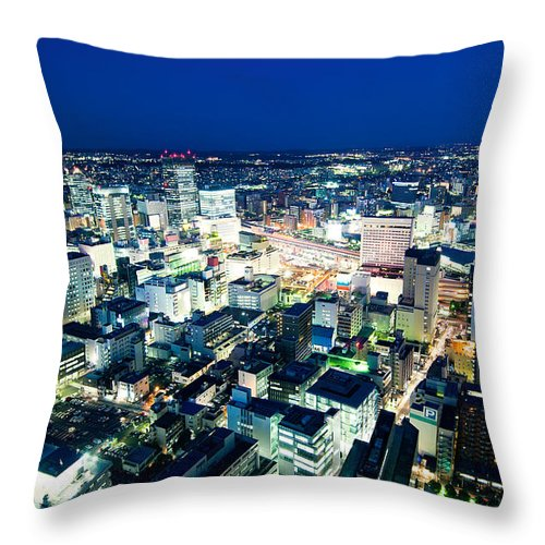 Aerial Throw Pillow featuring the photograph Sendai Train Station By Night by U Schade