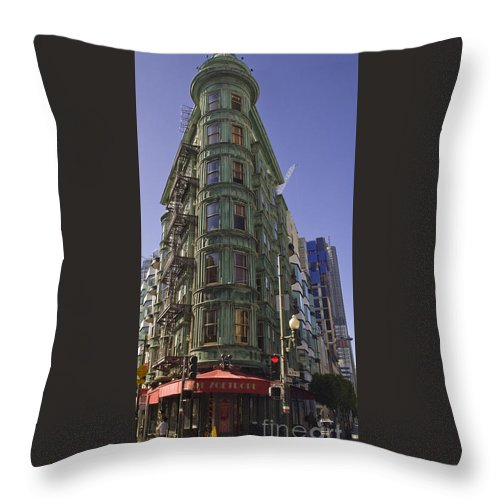 Financial District Throw Pillow featuring the photograph Sentinel Building - Columbus Tower American Zoetrope by Tim Mulina