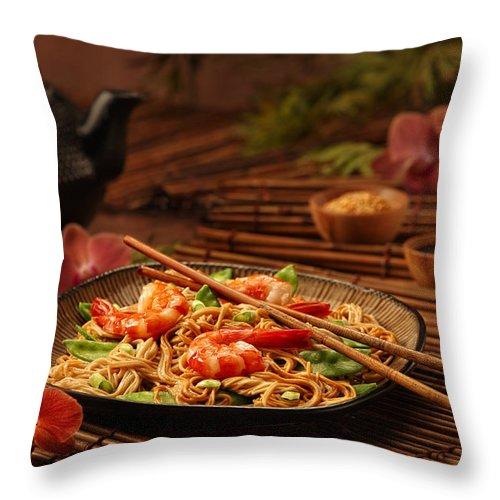 Prawns Throw Pillow featuring the photograph Serene Cuisine by Tamara Brown