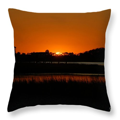 Sunset Throw Pillow featuring the photograph Serene Sunset by Melody Jones