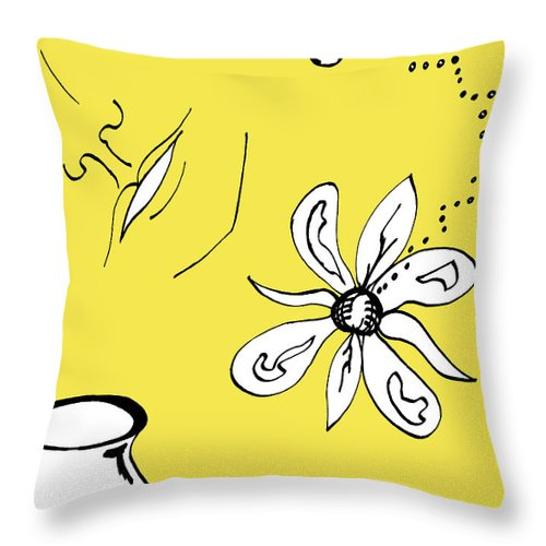 Contemplation Throw Pillow featuring the mixed media Serenity In Yellow by Mary Mikawoz