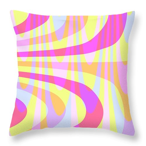 70's Swirls (digital) By Louisa Knight (contemporary Artist) Throw Pillow featuring the digital art Seventies Swirls by Louisa Knight