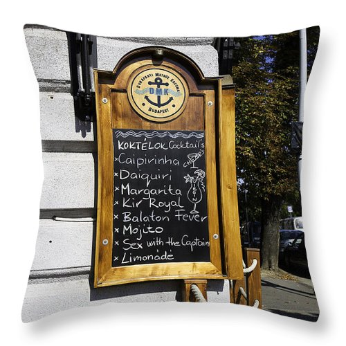 Sign Throw Pillow featuring the photograph Sex With The Captain by Madeline Ellis