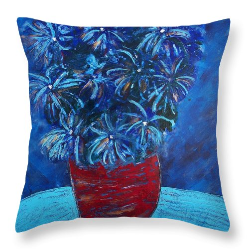 Flower Throw Pillow featuring the painting Shades Of Blue by Edmund Akers
