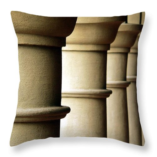 Structural Columns Throw Pillow featuring the photograph Shadow Columns by Jeff Lowe