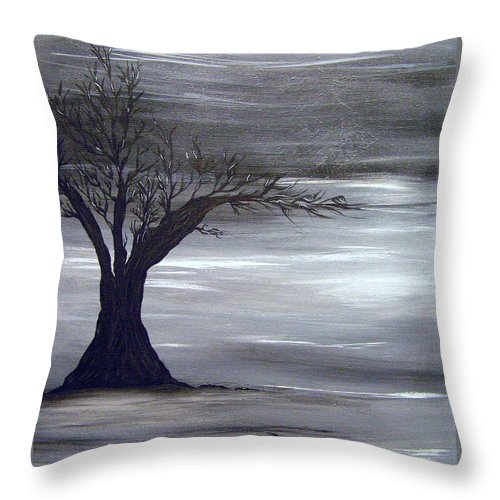 Black & White Throw Pillow featuring the painting Shadow Tree by Kami Catherman