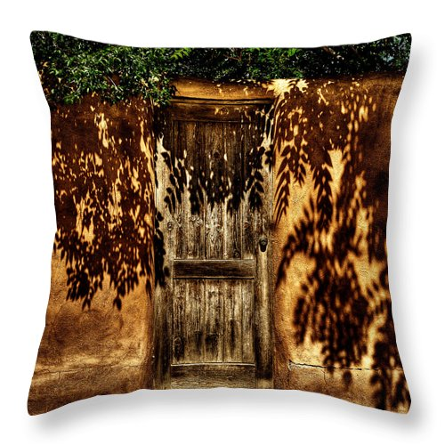 New Mexico Throw Pillow featuring the photograph Shadowed Door by David Patterson