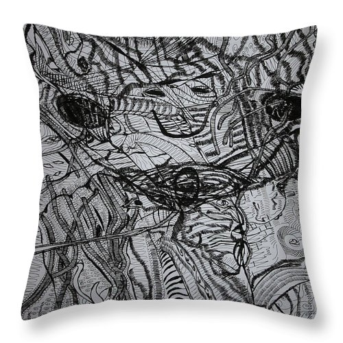 Jesus Throw Pillow featuring the drawing Shango by Gloria Ssali