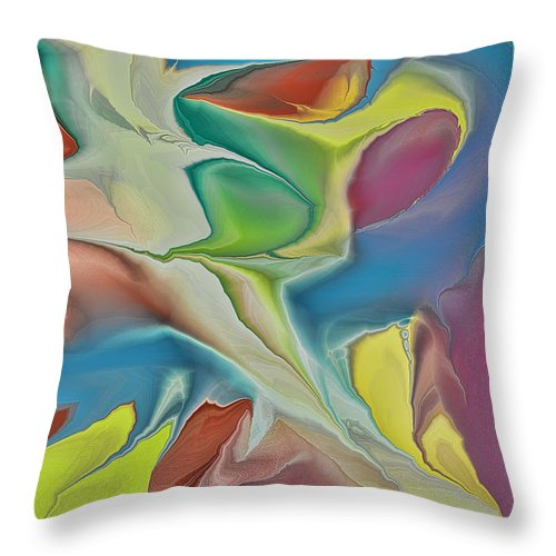 Abstract Throw Pillow featuring the digital art Sharks In Life by Deborah Benoit