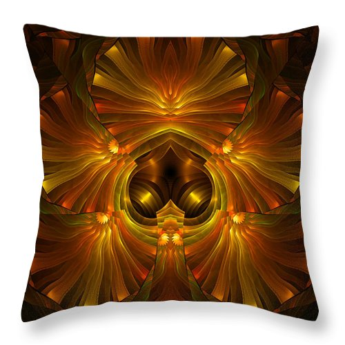 Abstract Throw Pillow featuring the digital art Shattered Five Leaf Clover Abstract by Georgiana Romanovna