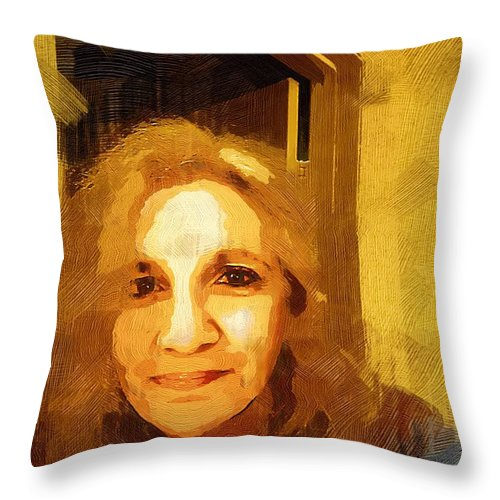Contemporary Throw Pillow featuring the painting She Smiles Sweetly by RC DeWinter