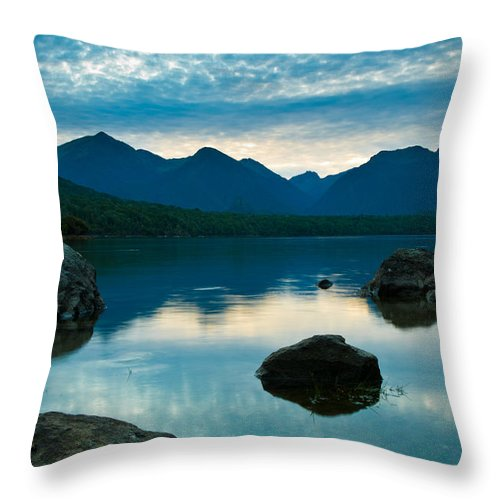 Alpine Throw Pillow featuring the photograph Sheep Clouds Above A Lake by U Schade