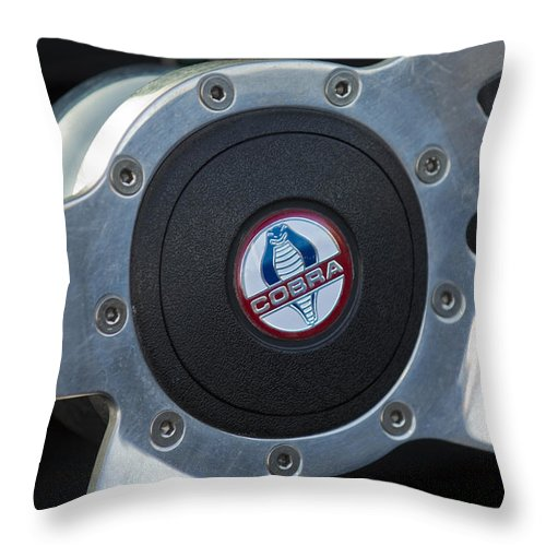 Shelby Cobra Throw Pillow featuring the photograph Shelby Cobra Steering Wheel by Jill Reger