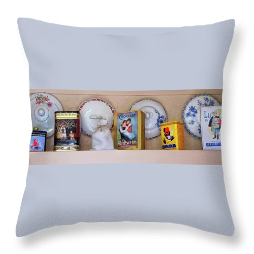Kitchen Throw Pillow featuring the photograph Shelf In A French Kitchen by Dave Mills