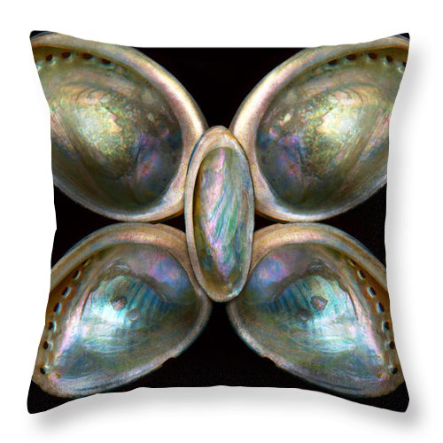 Butterfly Throw Pillow featuring the photograph Shell - Conchology - Devine Pearlescence by Mike Savad