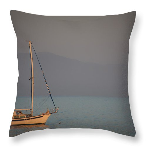 Ship Throw Pillow featuring the photograph Ship In Warm Light by Ralf Kaiser