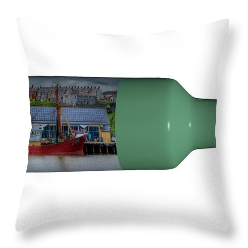 3d Throw Pillow featuring the photograph Ship On A Bottle With White by Steve Purnell