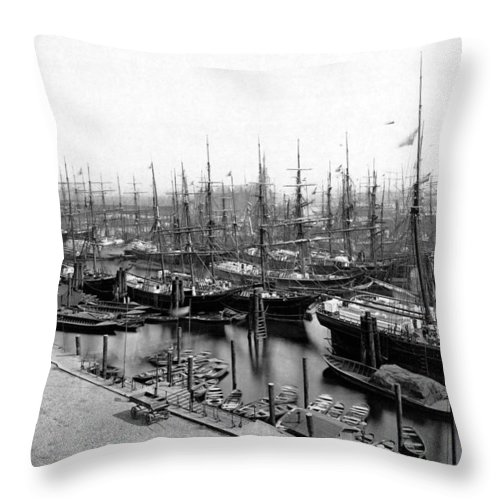 Harbour Vintage Sw Bw Ships Hamburg Germany 1900 Century Old Sailor Boat Winter Ice Snow City Cityscape Sailing Throw Pillow featuring the photograph Ships In Harbour 1900 by Steve K